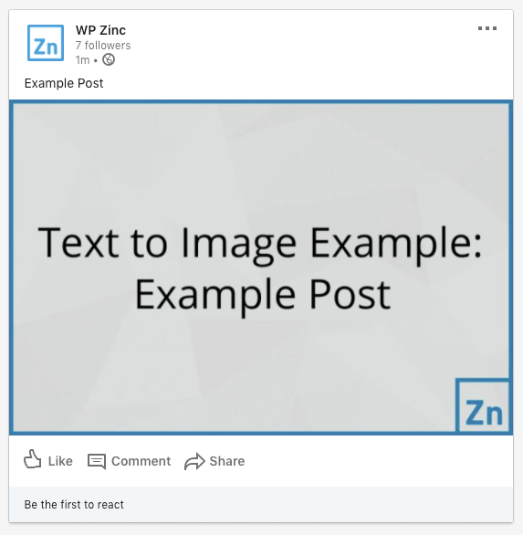 WordPress to SocialPilot Pro: Status Image: Text to Image, Not Linked to Post: LinkedIn