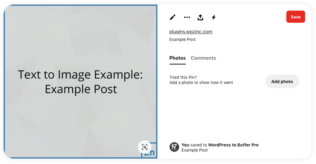WordPress to Buffer Pro: Status Image: Text to Image, Not Linked to Post: Pinterest