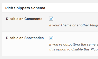 Comment Rating Field Pro: Settings: Rich Snippets