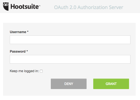 WordPress to Hootsuite Pro: Authentication: Grant