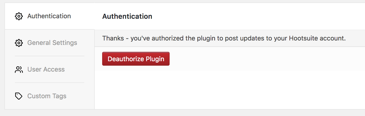 WordPress to Hootsuite Pro: Authentication: Updated UI