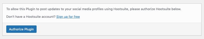 WordPress to Hootsuite Pro: Authorize Plugin