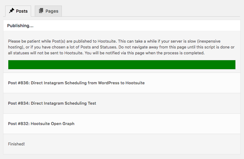 WordPress to Hootsuite Pro: Bulk Publish: Progress