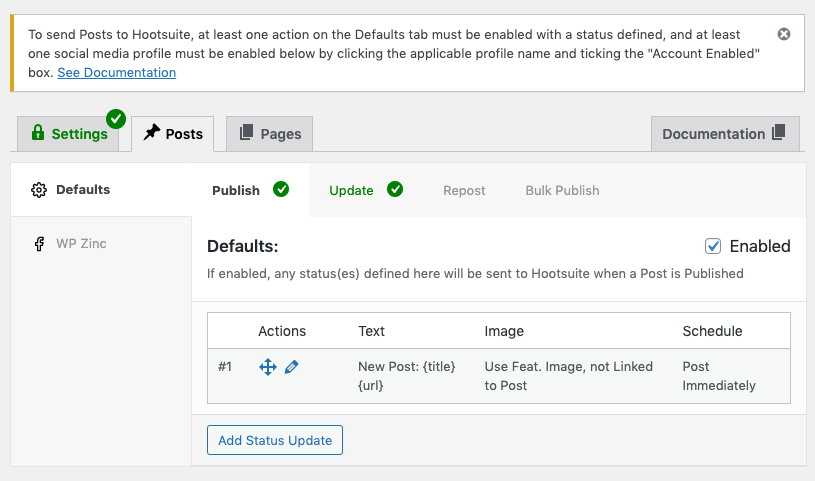 WordPress to Hootsuite Pro: Connected Profiles