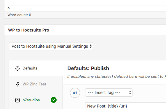 WordPress to Hootsuite Pro: Per Post Settings
