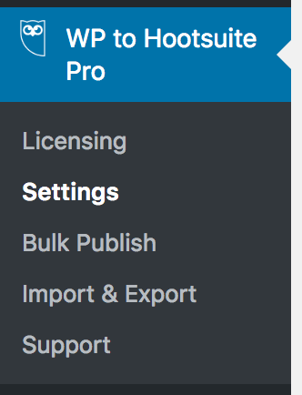 WordPress to Hootsuite Pro: Settings Menu