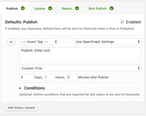 WordPress to Hootsuite Pro: Status Settings: Post Action: Publish