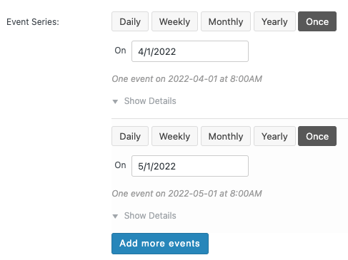 WordPress to Buffer Pro: The Events Calendar Pro: Event Series