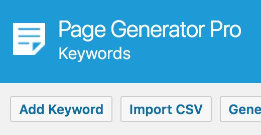Page Generator Pro: Import CSV