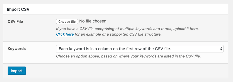 Page Generator Pro: Keywords: Import CSV Form