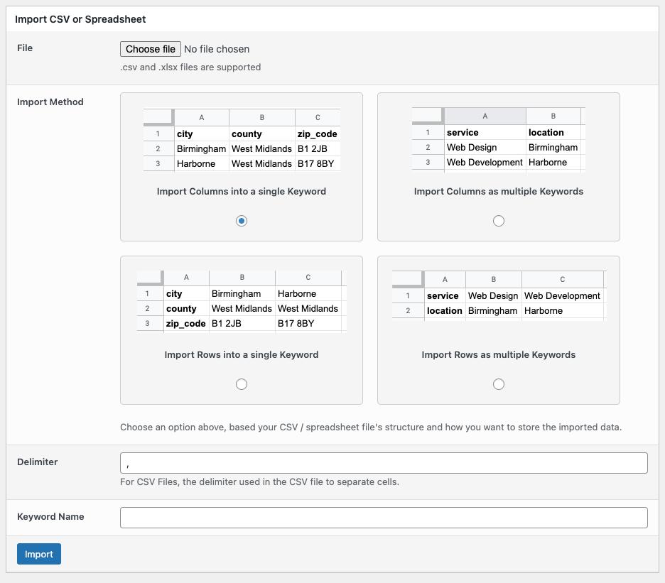 Page Generator Pro: Keywords: Import CSV or Spreadsheet: Form