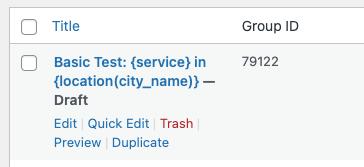 Page Generator Pro: Generate: Content: Quick Edit: Draft