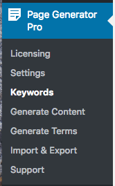 Page Generator Pro: Keywords Menu
