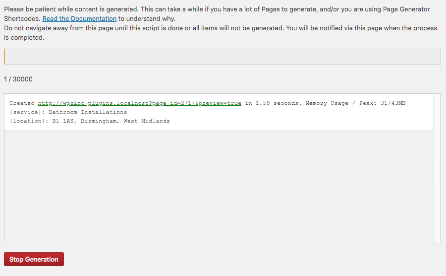 Page Generator Pro: Tutorial: Generate Log