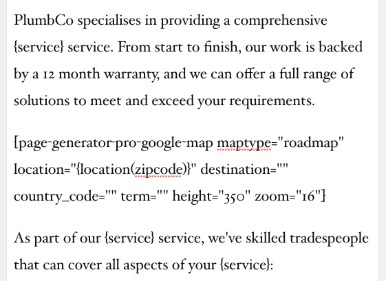 Page Generator Pro: Tutorial: Google Maps: Shortcode