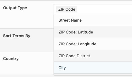 Page Generator Pro: Tutorial: Location Keyword: Selecting ZIP Code as an Output Type