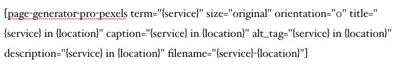Page Generator Pro: Tutorial: Pexels: Shortcode