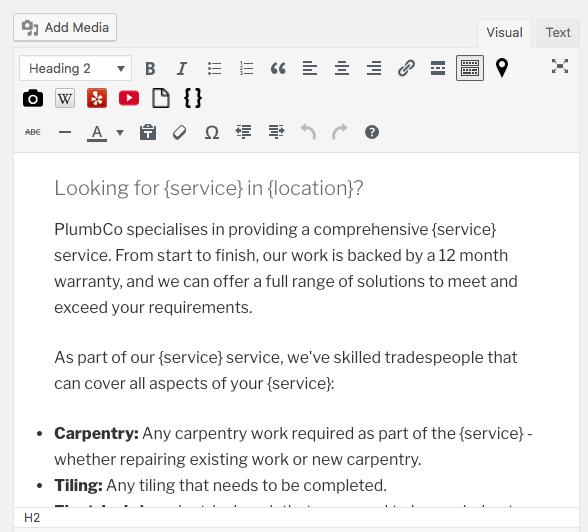 Page Generator Pro: Tutorial: Visual Editor