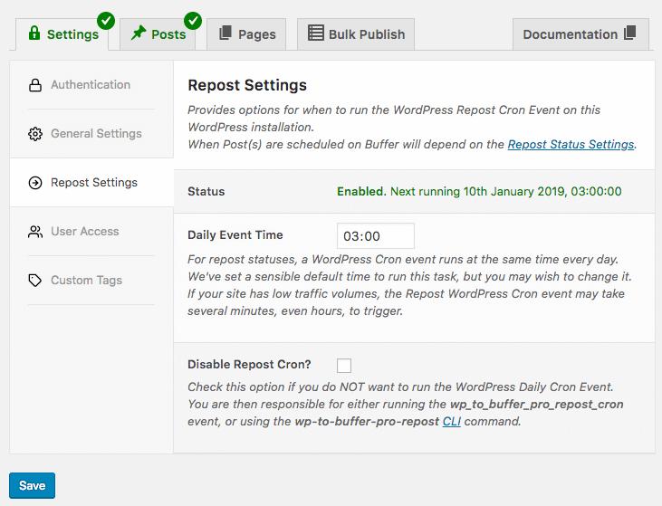 WordPress to Buffer Pro: Repost Settings