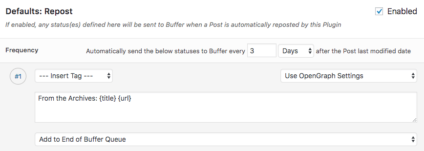 WordPress to Buffer Pro: Repost Settings