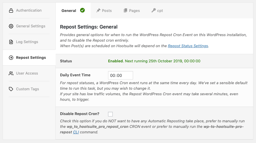 WordPress to Hootsuite Pro: Repost Settings