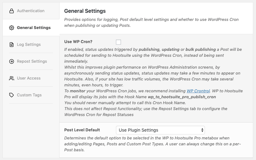 WordPress to Hootsuite Pro: General Settings