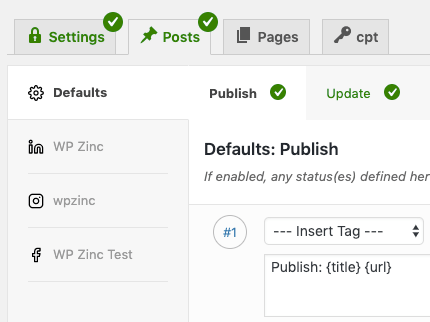 WordPress to Buffer Pro: User Access: Enable Specific Profiles: Example Per-Post Settings
