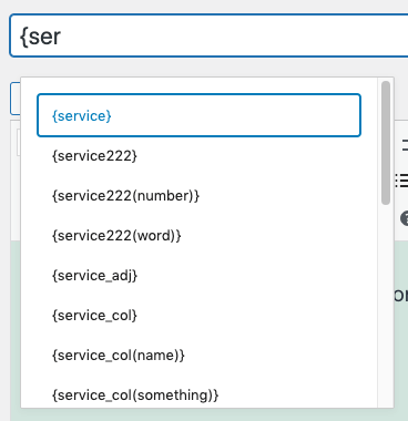 Page Generator Pro: Generate Content: Using Keywords: Autocomplete List on Field