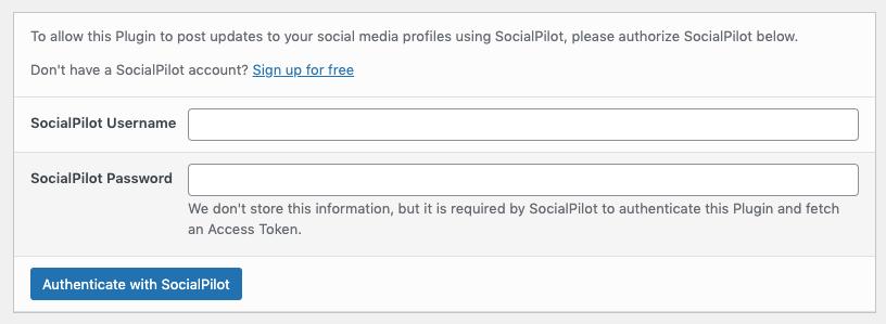 WordPress to SocialPilot Pro: Authenticate