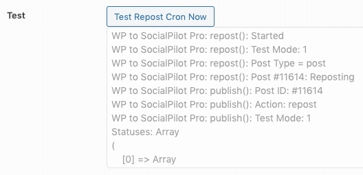 WordPress to SocialPilot Pro: Repost Settings: Test Repost Cron