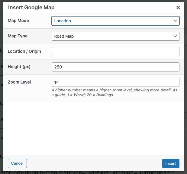 Page Generator Pro: Dynamic Elements: Google Maps: TinyMCE Modal