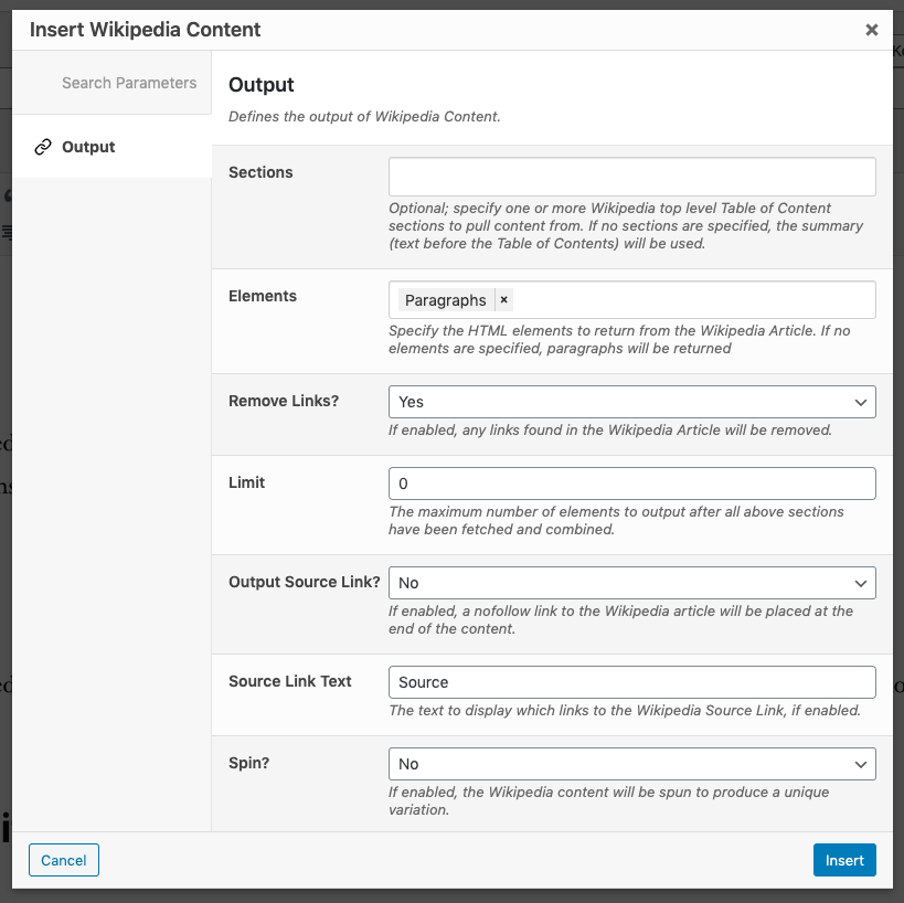 Page Generator Pro: Dynamic Elements: Wikipedia: Output