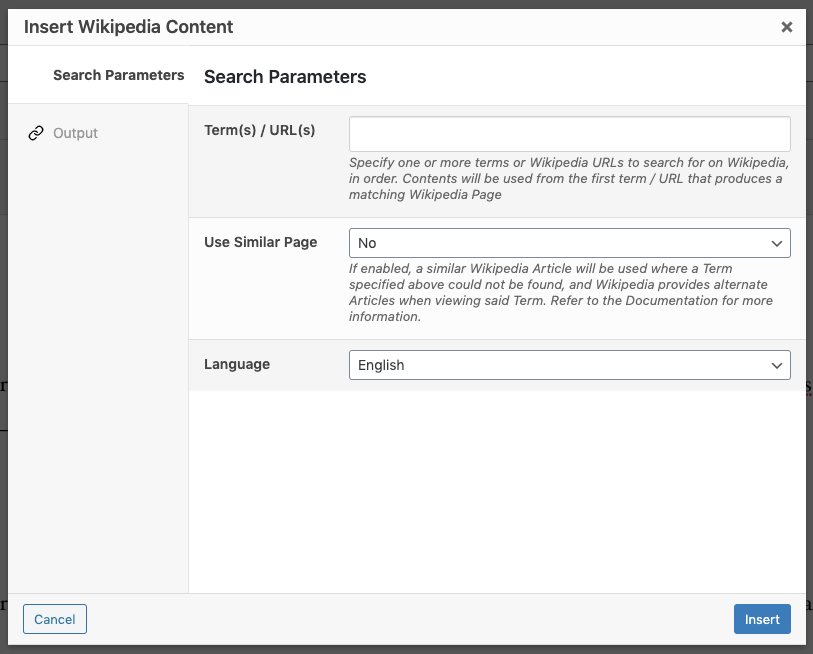 Page Generator Pro: Dynamic Elements: Wikipedia: Search Parameters