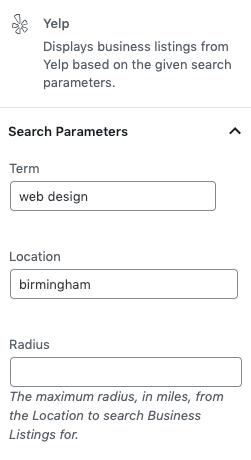 Page Generator Pro: Generate: Dynamic Elements: Yelp: Sidebar
