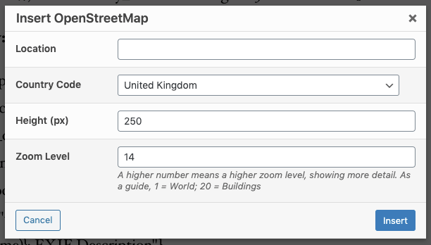 Page Generator Pro: Generate: Shortcodes: Open Street Map: TinyMCE Modal