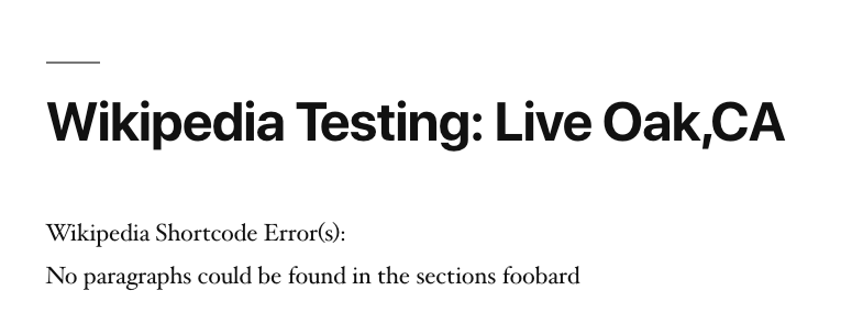 Page Generator Pro: Generate: Shortcodes: Wikipedia: Verbose Errors on Testing