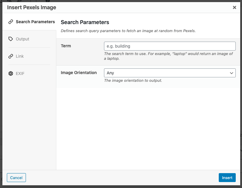 Page Generator Pro: Pexels: Search Parameters