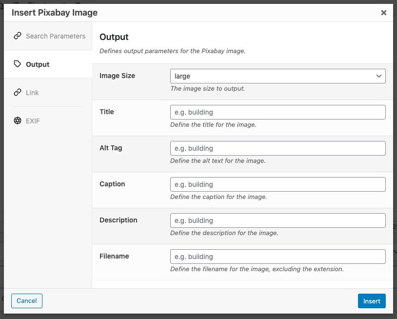 Page Generator Pro: Pixabay: Output