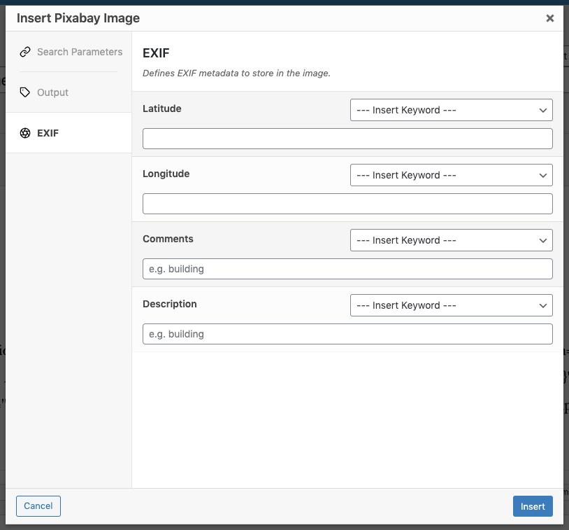 Page Generator Pro: Shortcode: Pixabay: EXIF