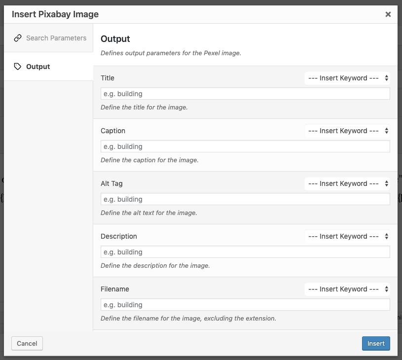 Page Generator Pro: Shortcodes: Pixabay: Output