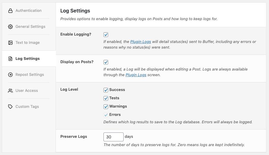 WordPress to Buffer Pro: Log Settings