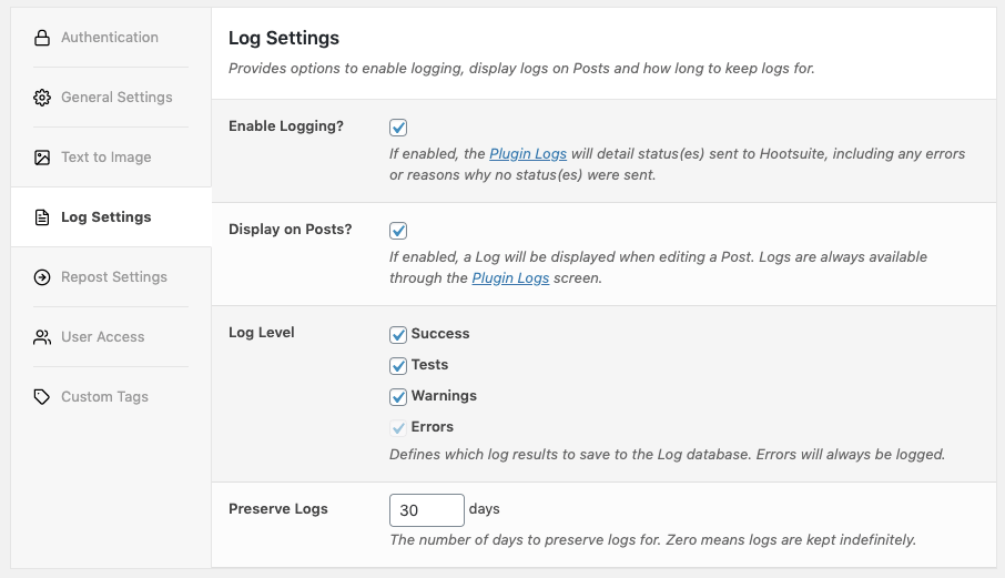 WordPress to Hootsuite Pro: Log Settings