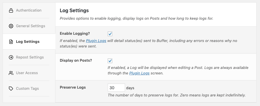 WordPress to SocialPilot Pro: Log Settings
