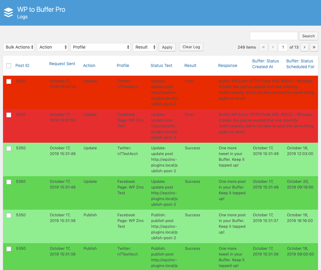WordPress to Buffer Pro: Logs: Table