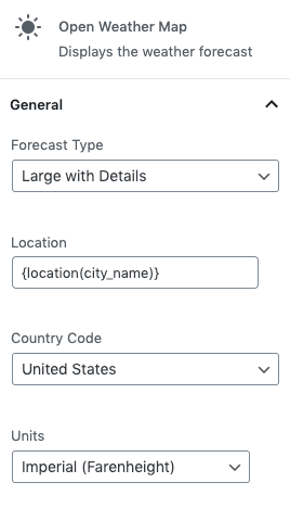 Page Generator Pro: Generate: Dynamic Elements: Open Weather Map: Sidebar