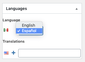 Page Generator Pro: Polylang: Content Groups: Spanish Language Dropdown