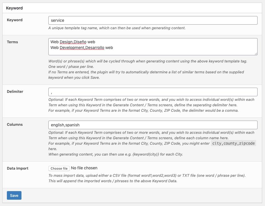 Page Generator Pro: Polylang: Keyword