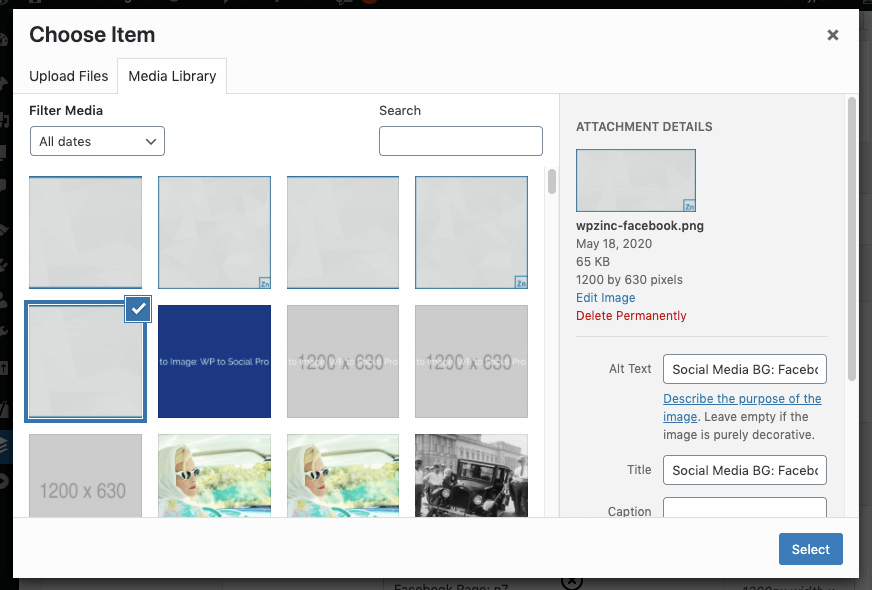WordPress to SocialPilot Pro: Text to Image Settings: Background Image: Add/Select