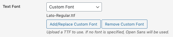 WordPress to Buffer Pro: Text to Image Settings: Selected Custom Font