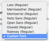 WordPress to Buffer Pro: Text to Image Settings: Custom Font Dropdown
